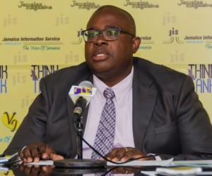Executive Director of the Jamaica Anti-Doping Commission (JADCO), Carey Brown, addresses a JIS Think Tank, at the agency's head office in Kingston. Photo Courtesy JIS.