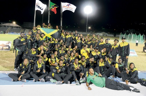 Members of Jamaica's Carifta Games squad at the end of the 44th edition inside the Kim Collins Stadium in Basseterre, St Kitts-Nevis (Photo: Collin Reid courtesy of Supreme Ventures and Courts)