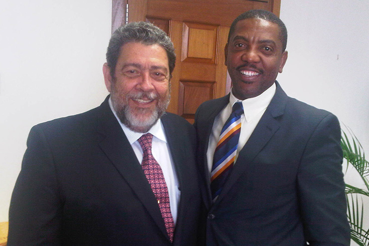 St Vincent Prime Minister Dr Ralph Gonsalves (left) and WICB president Dave Cameron (right).