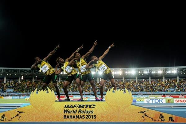 Jamaica celebrate their 4x200m victory at the IAAF/BTC World Relays, Bahamas 2015 (Getty Images) © Copyright Jamaica after winning the men's 4x200m at the IAAF/BTC World Relays, Bahamas 2015 (Getty Images)Jamaica after winning the men'