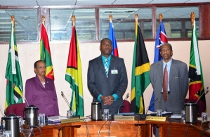 Director, Human Development, Caricom Secretariat Myrna Bernard, Chairman of  COHSOD and Minister of Education, Youth, Sports and Culture St Kitts and Nevis Shawn Richard and Assistant Secretary-General, Directorate of Human and Social Development, Ca