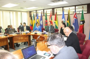 CARICOM Secretary-General Ambassador Irwin LaRocque (centre) addresses delegates at the Eighth General Meeting of CARICOM and Associate Institutions and the UN System, CARICOM Secretariat, Georgetown, Guyana, 24 July, 2015