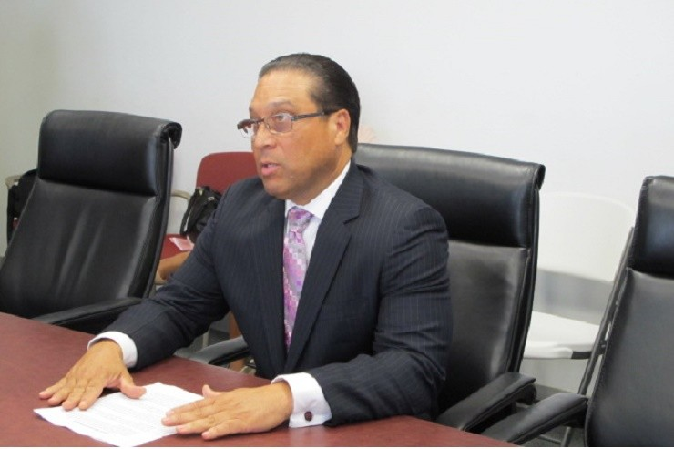 Cayman Islands Premier Alden McLaughlin making the aid announcement yesterday.