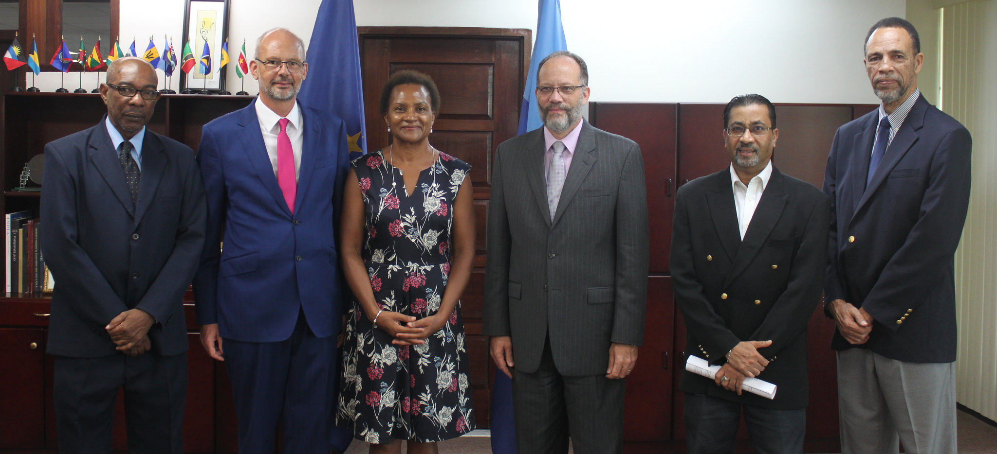 (L-R) Mr. Percival Marie, Director-General, CARIFORUM; His Excellency Mikael Barfod; Mrs. Maxia Barfod; Ambassador Irwin LaRocque, Secretary-General, Caribbean Community (CARICOM); Mr. Neville Bissember, Advisor, Office of the Secretary-General; and
