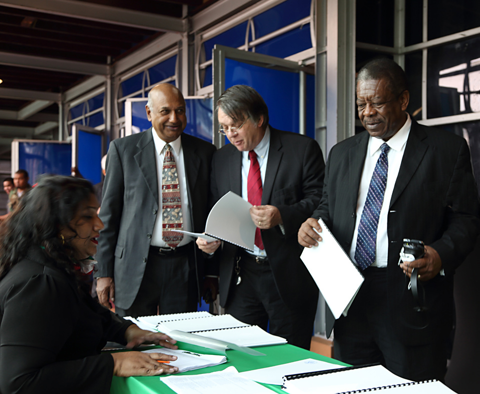 From left, are The Hon. Mr Justice Carl Singh, the Hon. Mr Justice Jacob Wit, the Rt Hon Sir Dennis Byron. (Photo via CCJ)