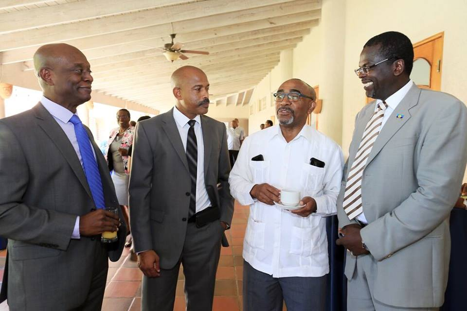 Launch of the Caricom Development Fund (CDF) 2nd Cycle: L-R: CDF Chair Alvin Halaire (TT); CEO Rodinald Soomer (Slu); Min. Darcy Boyce (Bdos); Min. Claude Hogan (Msr) 21 Sept 2015 at Bridgetown.