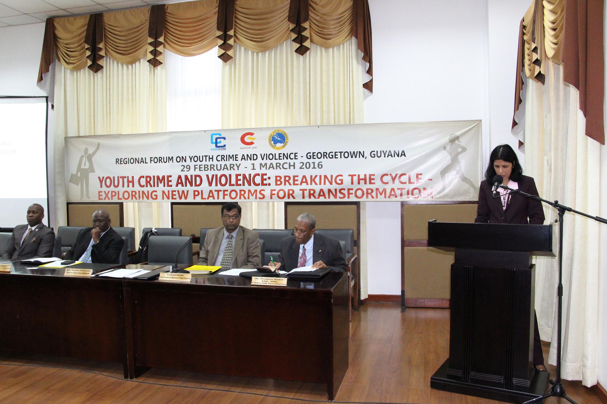 Dr Manorma Soeknandan Deputy Secretary General, Caricom Secretariat delivering remarks at the Regional Forum Of Youth Crime And Violence