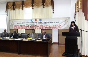 Dr Manorma Soeknandan Deputy Secretary General, Caricom Secretariat delivering remarks at the Regional Forum Of Youth Crime And Violence