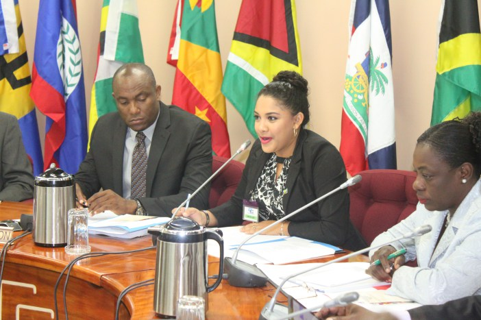 CARICOM Youth Ambassador (CYA) from Belize Ms. Tarun Butcher speaking as Vice Dean of the CYAs during the opening ceremony for the Twenty-Ninth Meeting of the Council for Human and Social Development (COHSOD). Sharing the moment are from left, Chairm