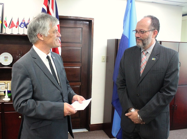 His Excellency John Pilbeam, AUstralian envoy to CARICOM and Ambassador Irwin LaRocque, CARICOM Secretary-General, during the Accreditation Ceremony