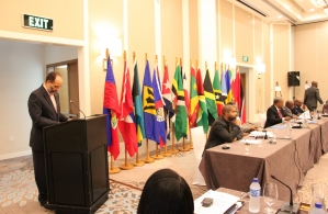 Ambassador Irwin LaRocque, Secretary-General of CARICOM and CARIFORUM, addresses the meeting at the Marriott Hotel, Georgetown, Guyana, 17 March, 2016