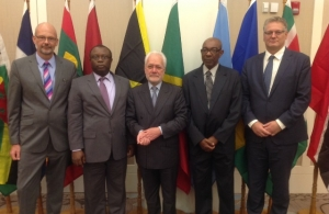 In photograph from left: Ambassador Mikael Barfod, Delegation of the EU to the Eastern Caribbean Countries, OECS and CARICOM/CARIFORUM; Mr. Sparte Odera, Advisor to the National Authorizing Officer of Haiti and CARIFORUM Co-Chair of the political di