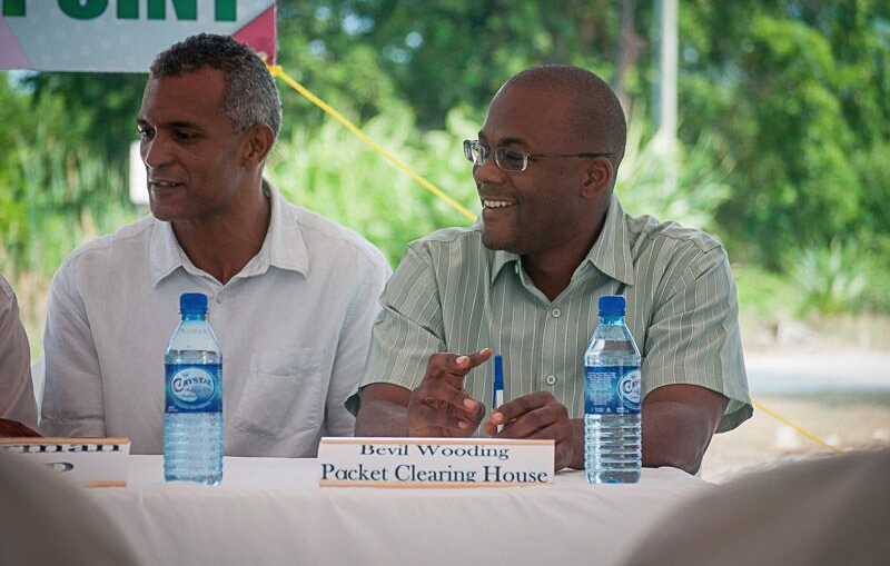 From left, Errol Catouse, Chairman of the Belize Internet Exchange Point and Bevil Wooding, Internet Strategist at Packet Clearing House at the launch of the Belize Internet Exchange Point in Belize City, Belize on April 27, 2016. PHOTO: CaribNOG