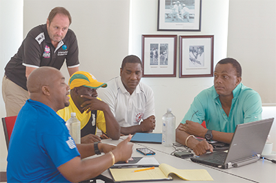 Richard Done of the ICC with participants Courtney Walsh, Steve Liburd, Junior Bennett and Robert Samuels. Photo courtesy: WICB Media
