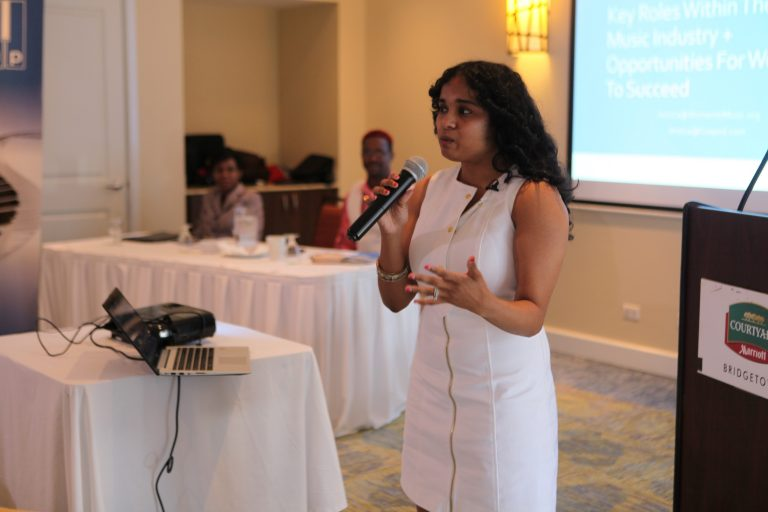 Jessica Sobhraj, President, Women in Music, during her presentation at the Workshop.