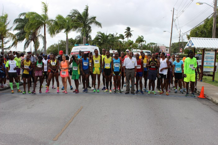 FLASHBACK: CARICOM Assistant Secretary-General, Human and Social Development Dr. Douglas Slater, prepares to run with the athletes at the CARICOM 10k race held in Barbados in 2015