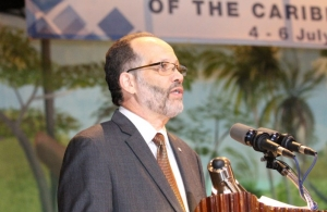 CARICOM Secretary-General, Ambassador Irwin LaRocque addresses the opening ceremony of the 37th Regular CARICOM Heads of Government Meeting Monday evening