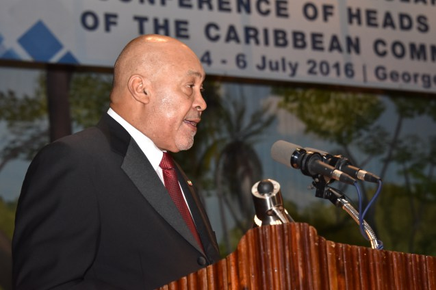 President of Suriname H. E. Desi Bouterse speaking at opening ceremony for the 37th Conference of the CARICOM Heads of Government on Monday (Photo credit GINA)