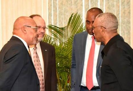 (L-R): President of Suriname, Desi Bouterse; CARICOM Secretary General, Irwin LaRocque; Prime Minister of Dominica, Roosevelt Skerrit; and President of Guyana, David Granger