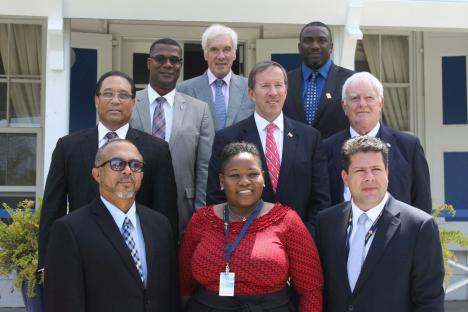 Turks and Caicos Islands Governor Peter Beckingham (back row centre) with British overseas territories leaders