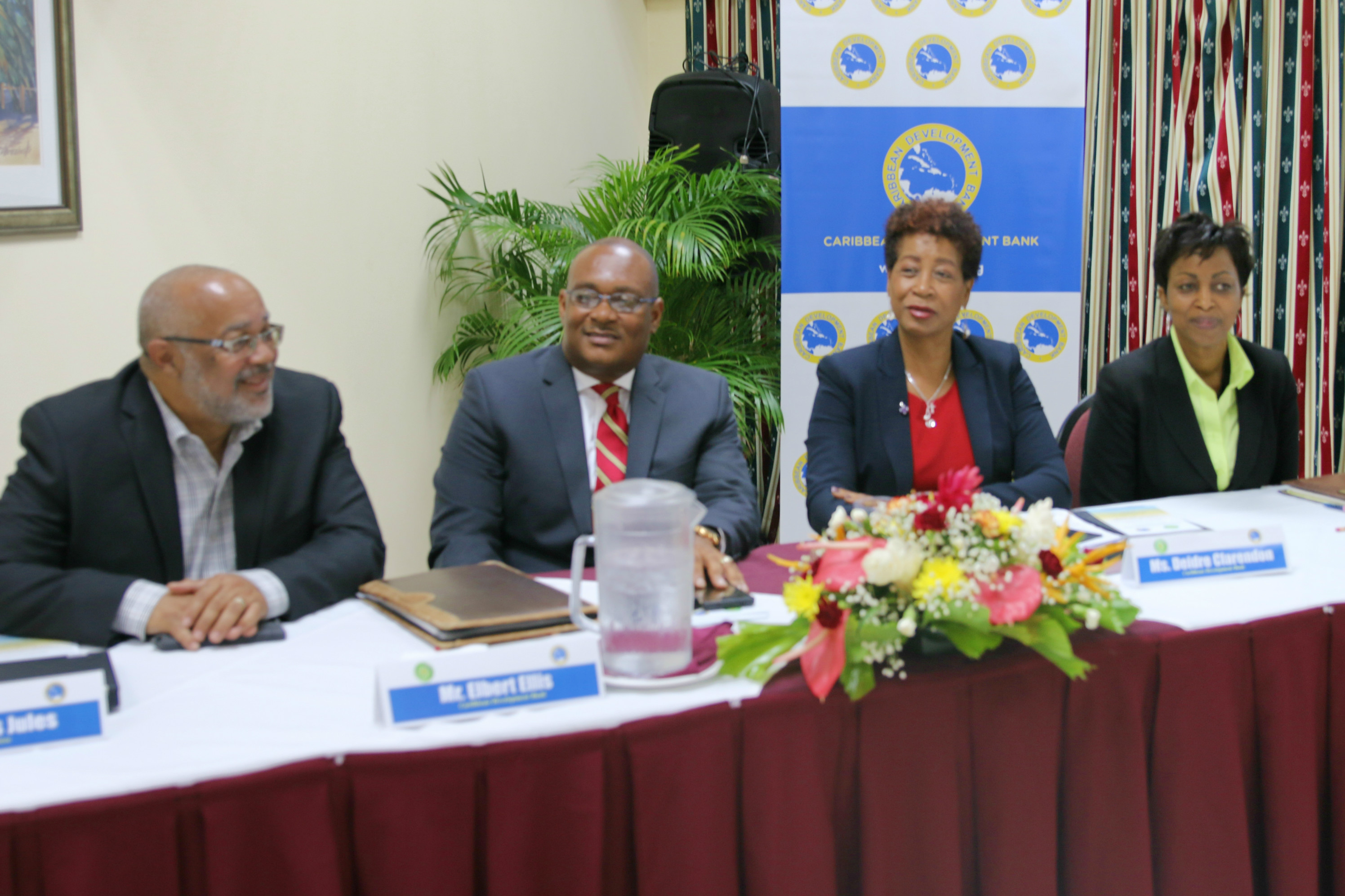Officials during the launch of the Enhanced Country Poverty Assessment Programme in Saint Lucia on July 26, 2016. Left to right: Dr. Didacus Jules, Director General, OECS Commission; Elbert Ellis, Operations Officer (Social Analyst), CDB; Deidre Clar