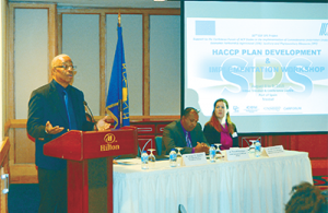 Gregg Rawlins, IICA representative in T&T, speaking at the workshop on Hazard Analysis Critical Control Points (HACCP) Plan Development and Implementation.