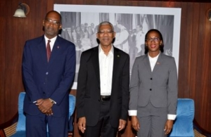 President of Guyana, His Excellency David Granger (centre) is flanked by Trinidad and Tobago Minister of Energy and Energy Industries , the Hon Nicole T Olivierre and Deputy Permanent Secretary in her Ministry, Mr. Andre Laveau (Photo via Government