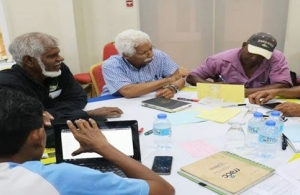 CNFO representatives from Belize, Suriname and Trinidad and Tobago share their ideas during a working-group session to develop priority areas for an action plan. (Photo via St. Lucia News Online)