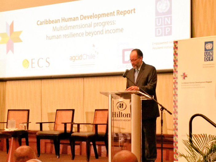 CARICOM Secretary-General Ambassador Irwin LaRocque addressing the Launch of the UNDP Caribbean Human Development Report in Barbados, Monday