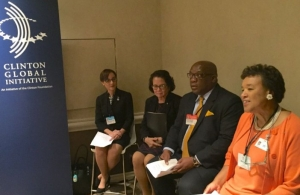 From left, Senator the Honourable Kamina Johnson Smith, Jamaica's Minister of Foreign Affairs and Foreign Trade, Her Excellency Sandra Granger, Guyana's First Lady; Dr. the Hon. Timothy Harris, Prime Minister of St. Kitts and Nevis, and t