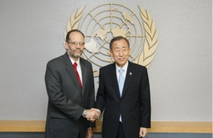 CARICOM Secretary-General Ambassador Irwin LaRocque with UN Secretary-General Ban Ki-moon. (Photo via UN/JC McIlwaine)