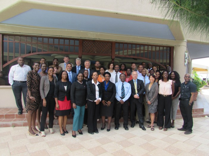 Statisticians take time out from their meetings in Barbados to pose for a photograph.