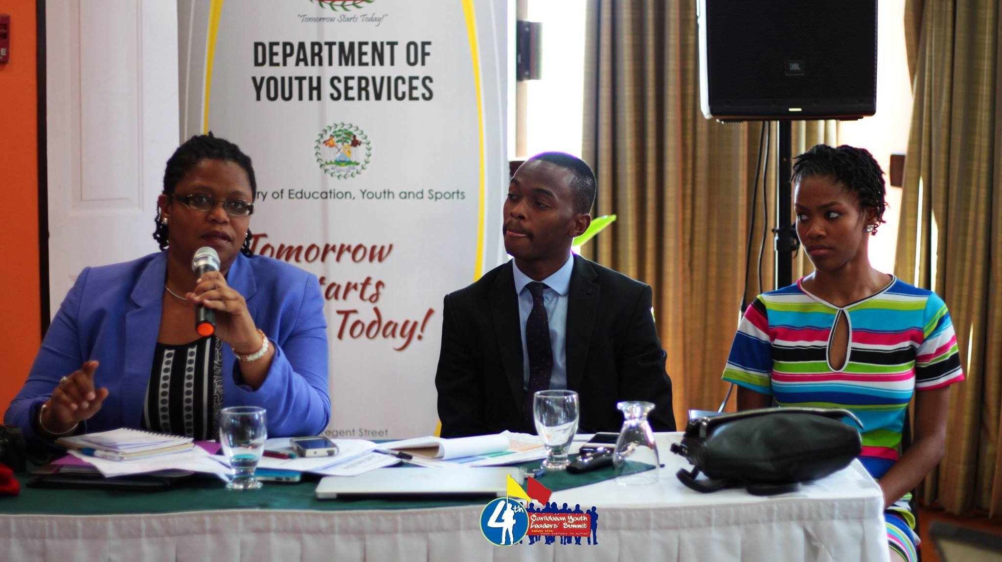 Programme Manager for Culture and Community Development at the CARICOM Secretariat Dr. Hilary Brown answering questions during the Caribbean Youth Leaders' Summit in Belize