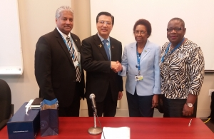 (l-r) Mr. Nari Williams-Singh, Director General, Chairman, CASSOS Board of Directors and Jamaica Civil Aviation Authority; Mr. Dato' Sri Liow Tiong Lai, Hon. Minister of Transport, Malaysia; Ms. Desiree- Field-Ridley, CARICOM Secretariat; Dr. P