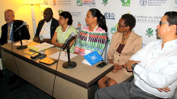 At a media briefing on Tuesday morning are, from left, Mr. Brian Crichlow, Acting Director, Department of Agriculture, Cayman Islands, Mr. Barton Clarke, Executive Director of CARDI, Ms. Nisa Surujbally, Programme Manager Agriculture and Industry, CA