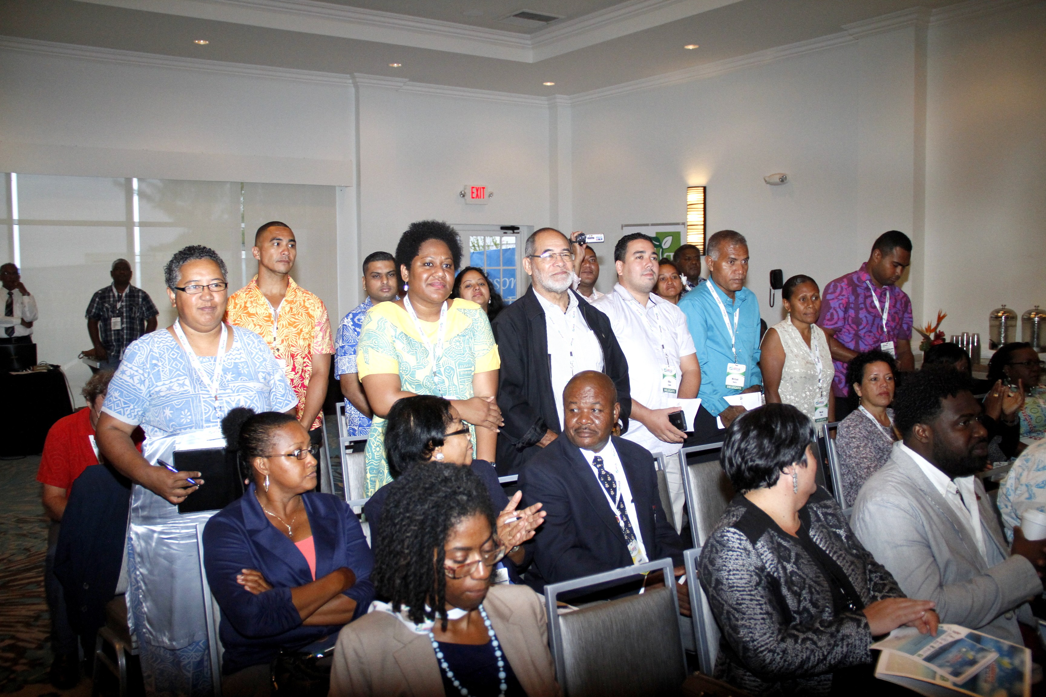 Delegates from the Pacific Islands are acknowledged during the opening ceremony of Caribbean Week of Agriculture in Grand Cayman on Wednesday, Oct. 26. (Photo by Kenton Chance)