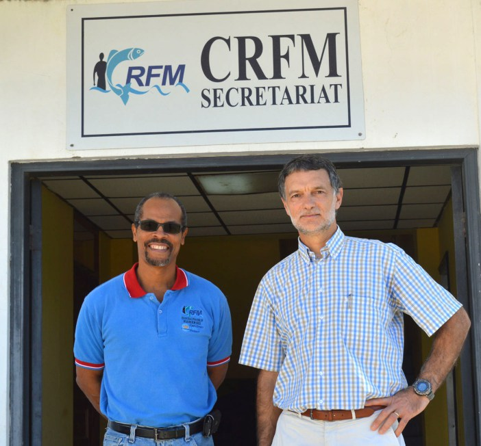 Milton Haughton, CRFM Executive Director (left), and Marc Taconet, Chief of the Statistics and Information Branch of the Fisheries and Aquaculture Policy and Economics Division, FAO (Photo via CRFM)
