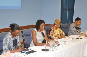 Members of the panel, from left to right: Dr. Rosina Wiltshire, CARICOM Gender Justice Advocate; Isiuwa Iyahen, UN Women Programme Specialist, Women's Economic Empowerment; Phumzile Mlambo-Ngcuka, UN Women Executive Director; and Patricia McKen
