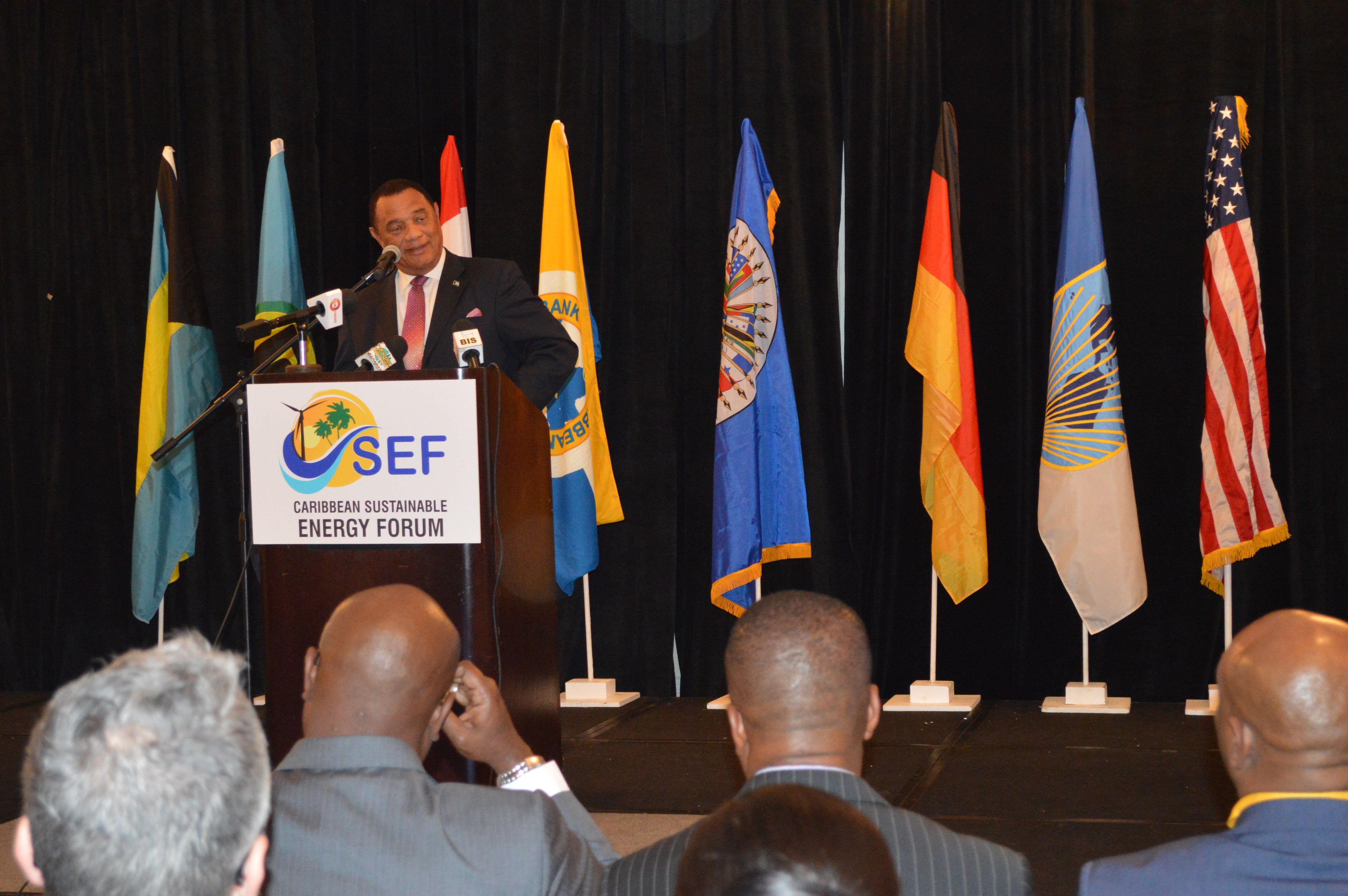 Prime Minister Perry Christie addresses the opening ceremony of CSEFV