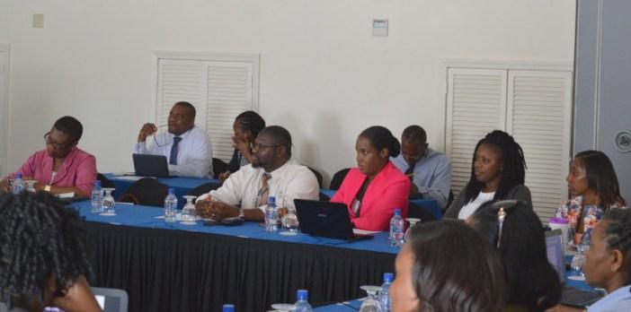 Donovan Herbert (centre) amongst participants at the LMIS workshop (Photo via SKNIS)