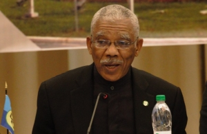 Chairman of CARICOM, President David Granger addresses the opening ceremony of the Meeting