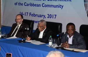 From left to right: Secretary General of CARICOM, Ambassador Irwin LaRocque, Chairman of CARICOM and President of Guyana, David Granger, and Incumbent Chairman of CARICOM and Prime Minister of Grenada, Dr Keith Mitchell