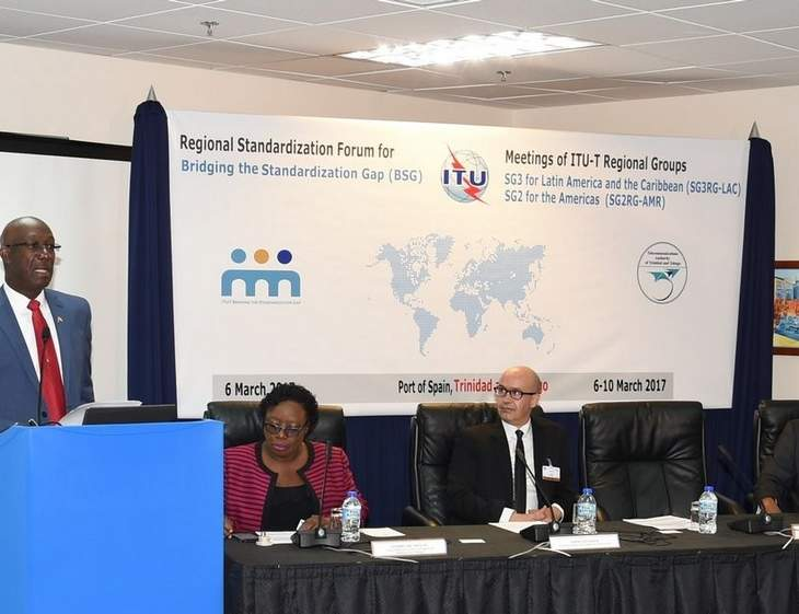 Prime Minister Dr. Rowley delivers the feature address at the Regional Standardization Forum for Bridging the Standardization Gap (BSG) on Monday.