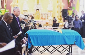 Saint Lucia Prime Minister Allen Chastanet (second from left) at the funeral of Sir Derek Walcott (Photo via Government of Saint Lucia)