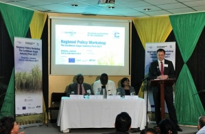 At the policy workshop, from left are Mr. Karl James, Chairman Sugar Association of the Caribbean, Mr. Donovan Stanberry, Permanent Secretary in the Ministry of Industry, Commerce, Agriculture and Fisheries, Ms. Nisa Surujbally, Programme Manager, Ag
