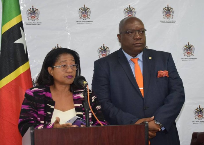 (Ag.) Chief Medical Officer, Dr. Hazel Laws alongside Prime Minister, Dr. the Honourable Timothy Harris at Wednesday's Press Conference.(Photo via SKNIS)