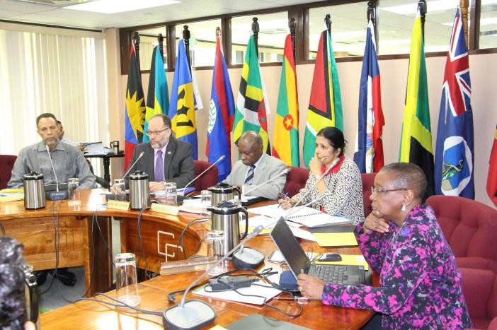 Chairman of the Community Council, Guyana's Foreign Minister Hon. Carl Greenidge (3rd left); CARICOM Secretary-General Ambassador Irwin LaRocque (2nd left); Deputy-Secretary-General Ambassador Manorma Soeknandan (2nd right); Assistant Secretary