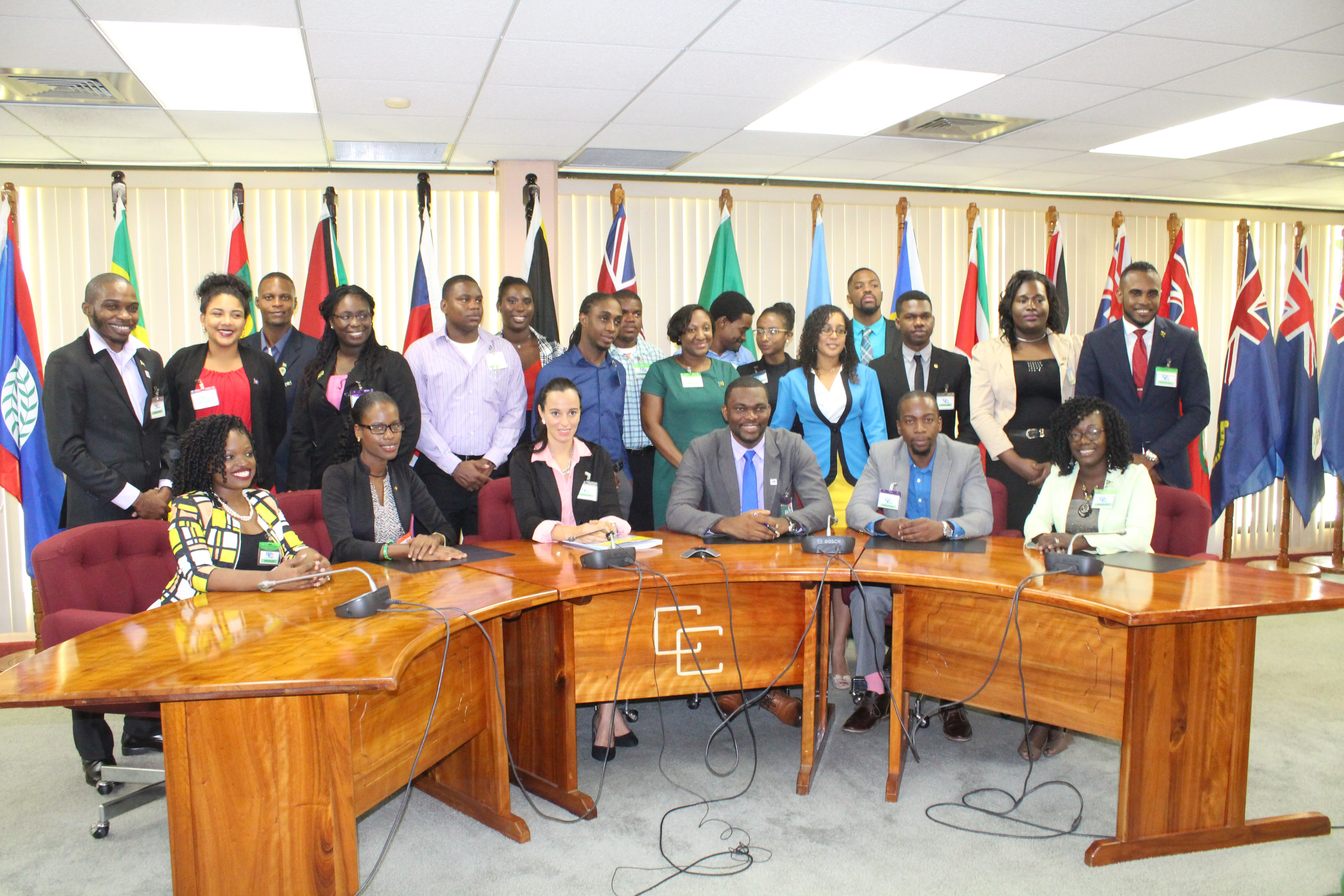 CARICOM Youth Ambassadors pose for a photo at the end of the opening ceremony for a CYAP Orientation and Capacity Building Workshop being held at the CARICOM Secretariat June 5-8, 2017