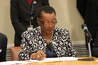 Barbados Foreign Minister, Hon Maxine McClean addresses the Plenary Session at the UN Oceans Conference, UN General Assembly Hall, New York, Tuesday 6 June 2017