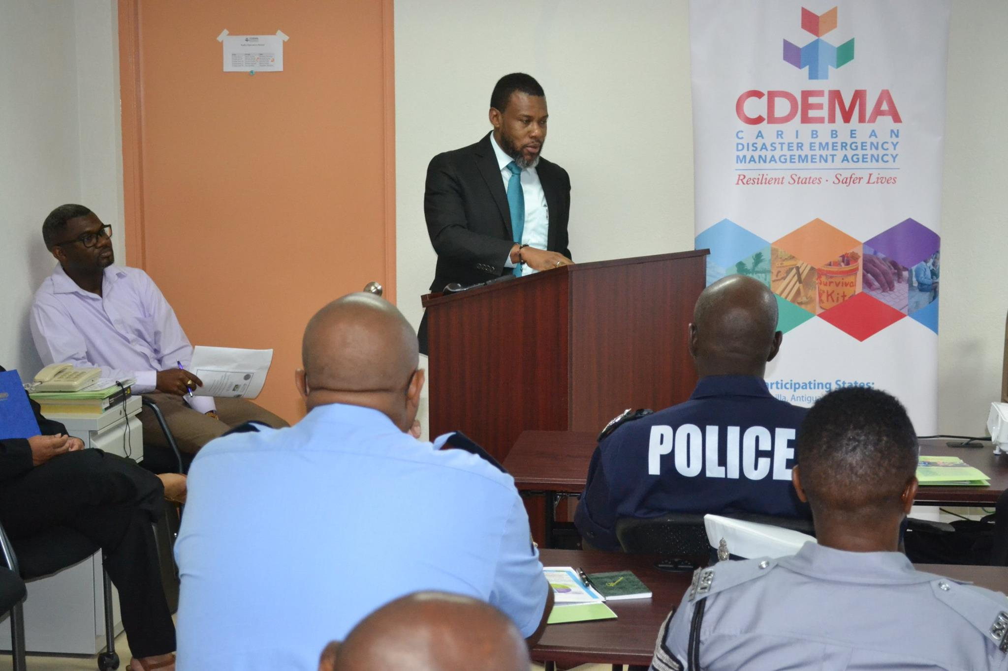 Mr Ronald Jackson, Executive Director of CDEMA delivering remarks at  the opening of the 2017 CDRU training workshop
